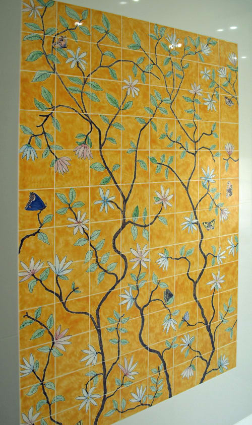 Tiles by Reptile Tiles seen at Private Residence, London - Butterfly Chinoiserie tiles
