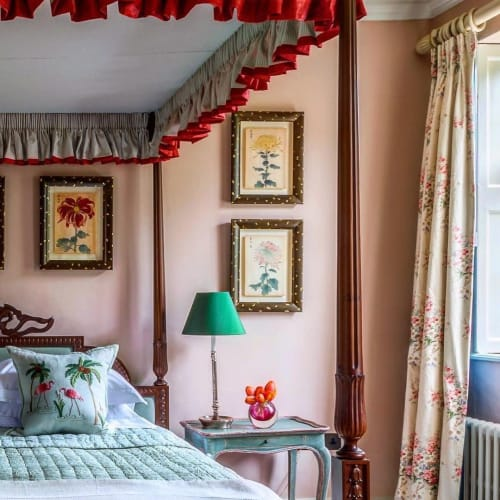 Pillows by Chelsea Textiles seen at Private Residence - Flamingos pillow