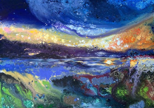 Paintings by mariaweiss_art_design seen at Private Residence, Aesch - Sunrise at the diamond coast of the lake Zurich