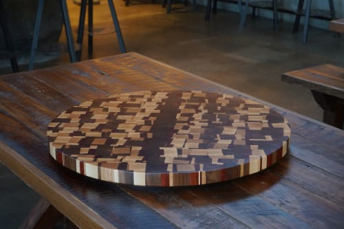 Furniture by The Timbered Wolf by Christopher Dean seen at Väsen Brewing Company, Richmond - Chaos Theory Lazy Suzan