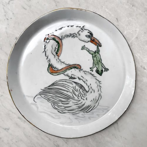 Ceramic Plates by Botticelli Ceramics seen at John Derian Company Inc, New York - Swan Plate