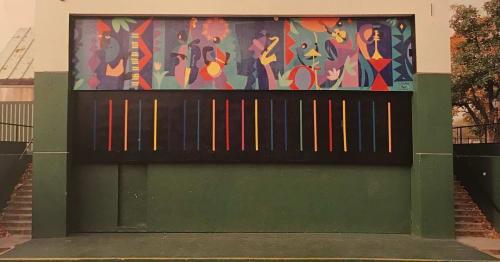 Street Murals by Jimmy James Greene seen at Herbert Von King Park, Brooklyn - New World Players