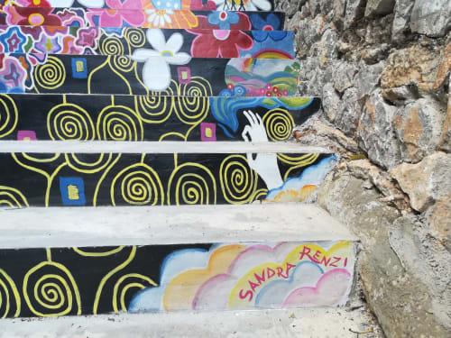 Murals by Sandra Renzi seen at Port de Sóller, Sóller - Stairway to... Bikini Hotel