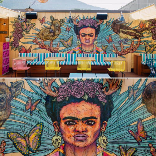 Murals by Jeff Blackburn seen at Magpie & Stump Restaurant, Banff - Rooftop Mural