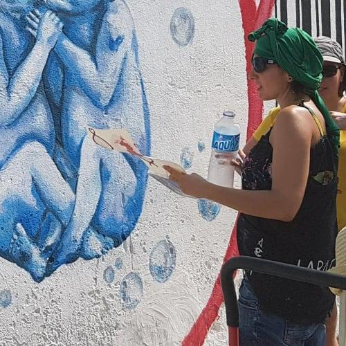 Murals by LaRa Gombau seen at Espai Jove Boca Nord, Barcelona - MARINA IVANOVNA's POEM