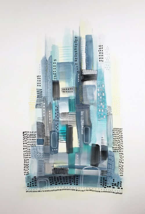 Paintings by Melanie Biehle seen at Jorg Family Dentistry, Seattle - Cool Blue Cityscape