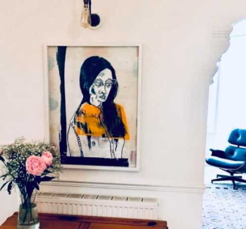 Paintings by Adam Hemuss seen at Private Residence, Bath - Girl in Elephant (Yellow)