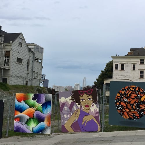 Murals by Ursula Xanthe Young seen at Alamo Square, San Francisco - Alamo Square mural