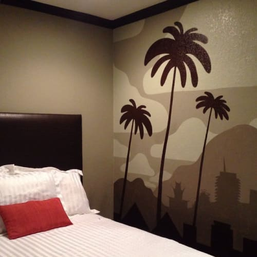 Murals by Maxwell McMaster seen at The Dixie Hollywood Hotel, Los Angeles - Interior Mural