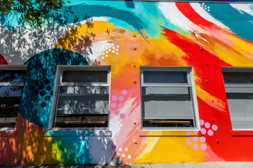 Murals by David 'MEGGS' Hooke seen at Cross Campus, Santa Monica - Commissioned Abstract Mural