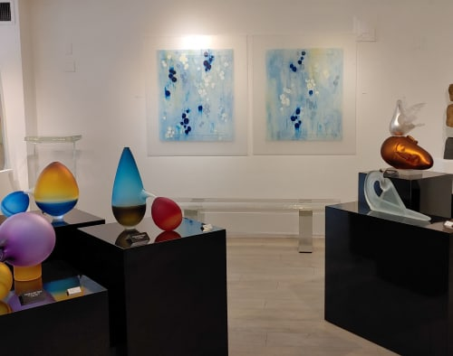 Paintings by Jane Guthridge seen at Raven Gallery, Aspen - The Color of Water 29 and 30