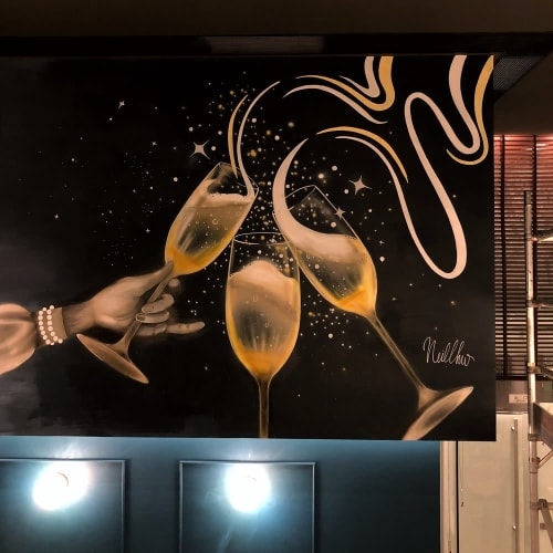 Murals by Neil Wang seen at Sparkling House Seafood & Oyster Bar - Contemporary Wall Art