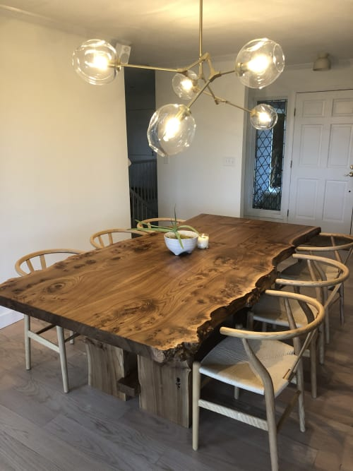 Tables by Black Rose WoodCraft seen at Private Residence, Portland - Elm Book Match Dining Table