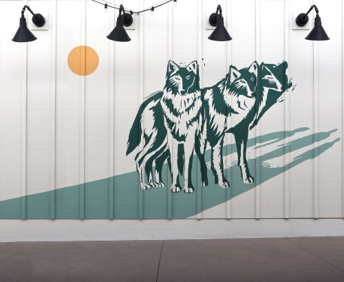 Murals by Natalie Bessell seen at Drybar Del Mar at One Paseo, San Diego - Wolf Pack