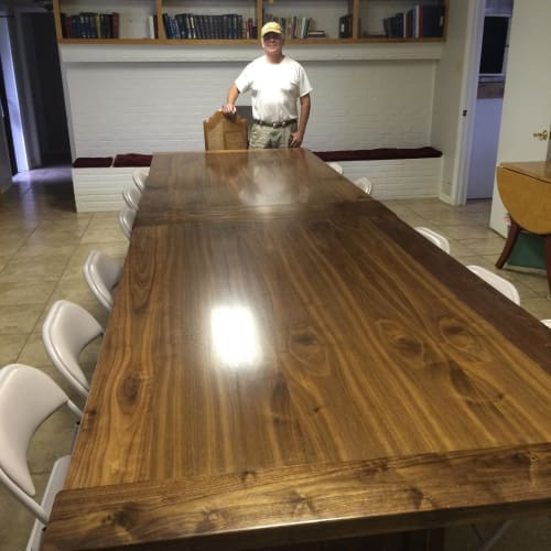 Tables by Wayne Delyea seen at First Presbyterian Church Office, Granbury - Black Walnut Conference Table