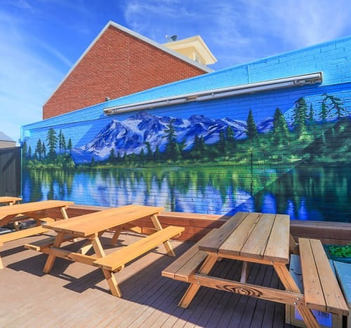 Murals by RESIO seen at Canoe Canoe, Hampton - Mural
