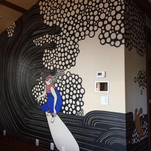 Murals by Kris Goto seen at Diamond Head, Honolulu - Sleepy Surfer - Mural