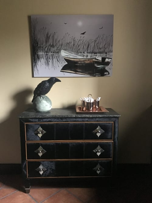 Paintings by Dave Fox seen at Private Residence, Kirkland - Winter Boat