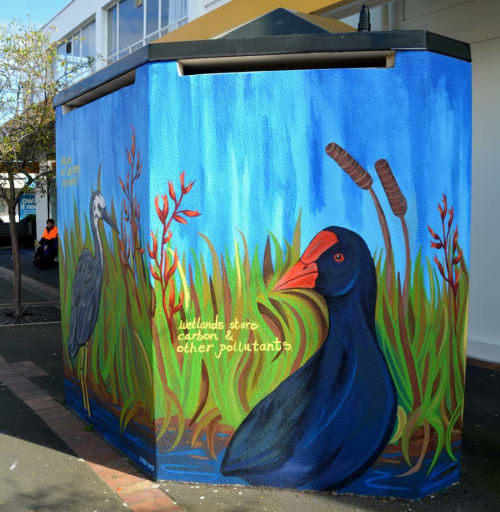 Street Murals by Claire Rye seen at Lorne Street, Dunedin - The Importance of Wetlands