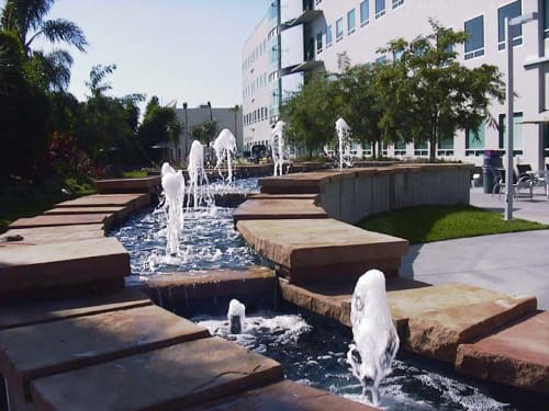 Water Fixtures by Philip Vaughan seen at Kilroy Realty Corporation, Los Angeles - Fibonacci spiral water sculpture