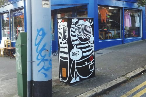 Street Murals by Mickey Shu-Ting Chan seen at Ashdale Road & Terenure Road North, Dublin - Mime in the Box
