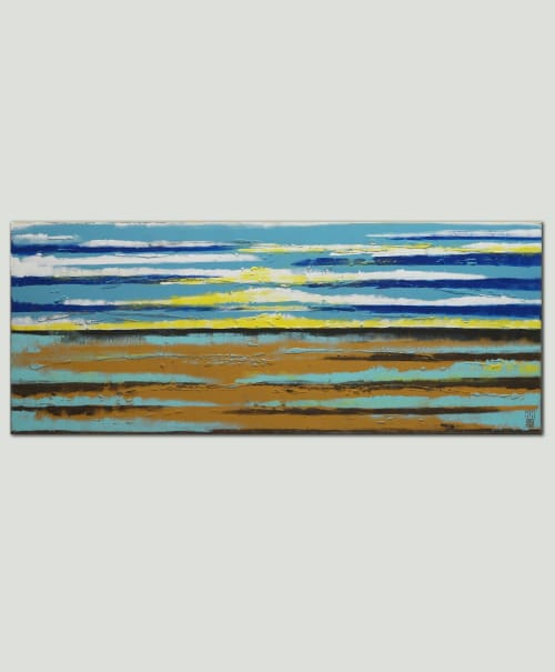 Paintings by Ronald Hunter seen at Roxier Art Gallery, Rotterdam - Sea view Landscape