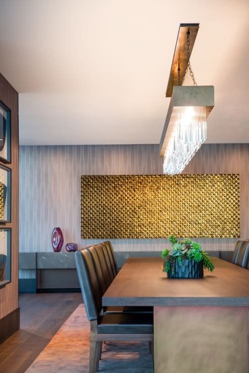 Sculptures by Michael Curry Mosaics seen at The Avery, San Francisco - Relection of Diamond in Gold and Bronze