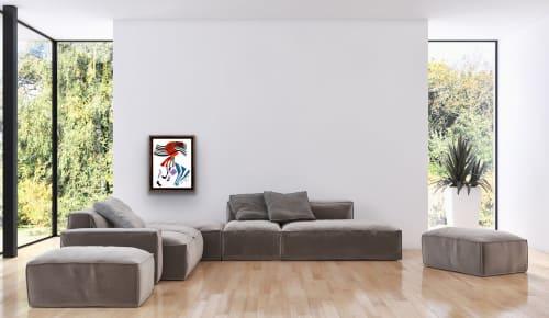 Paintings by K'era Morgan seen at Creator's Studio, Los Angeles - Untitled: Teal, Orange & Lilac