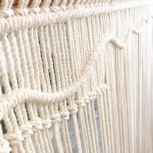 """Macrame Wall Hanging by Katie De Marzo - The Copper Nail seen at Private Residence, Dana Point - """"Current"""" - Large scale macrame wall hanging art piece."""