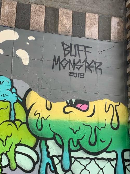 Street Murals by Buff Monster seen at Allen Street & Delancey Street, New York - Allen St & Delancey St Mural