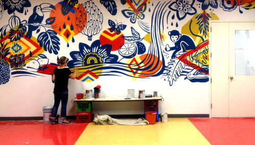 Street Murals by Gina Triplett and Matt Curtius seen at Independence Charter School, Philadelphia - ICS Mural