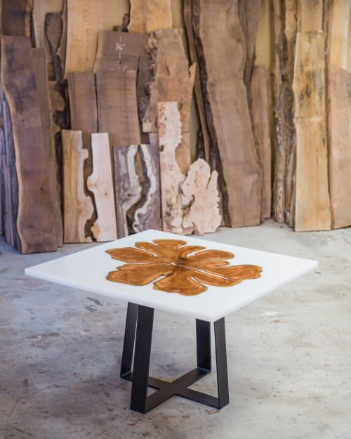 Tables by SAW Live Edge seen at SAW Live Edge Studio, Kimberley - Live Edge Cedar Resin Dining Table | Steel Base | White Resin