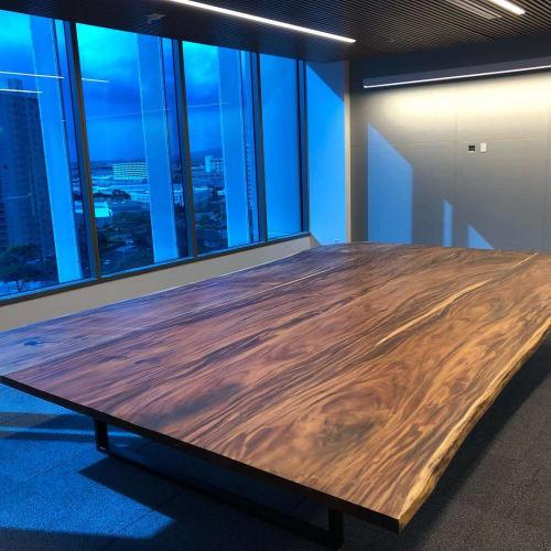 Tables by Island Reclaimed Wood seen at American Savings Bank, Honolulu - Monkeypod Boardroom Table