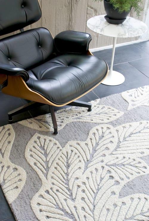 Rugs by eye heart hand seen at Private Residence - Westport, CT, Westport - leaf rug (grey)