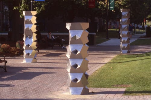 Public Sculptures by David Colbert seen at Western Connecticut State University, Danbury - WESTERN TOTEMS