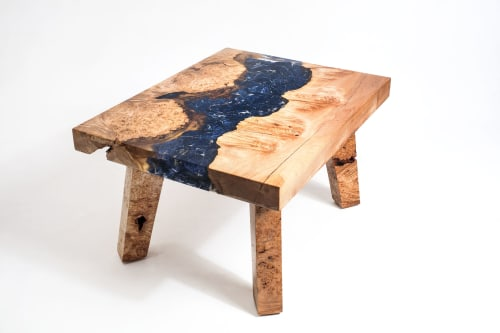"""Maple Burl Sodalite Mineral Resin River Coffee Table, 31x24"""" 