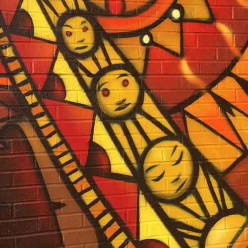 Murals by Visualgoodies seen at Community Christian Church, Kansas City - Papa sun