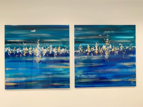 Paintings by Laura Chirino seen at Smile Institute Miami, Miami - Gold/Silver Leaf + Resin