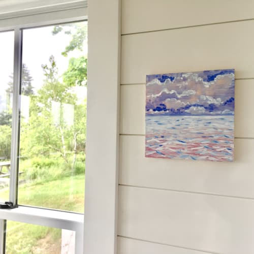 "Paintings by willa vennema seen at Private Residence, Portland - Magical Clouds, Acrylic on Panel, 8""x8"", 2020"