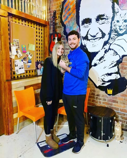 Johnny Cash / Dolly Parton Indoor Mural | Murals by Ryan Frizzell (The Rhinovirus) | Mewsic Kitty Cafe in Nashville