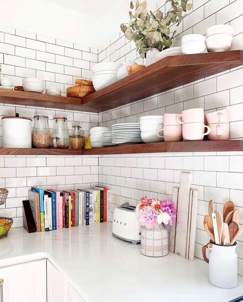 Furniture by Byron Conn Design seen at Private Residence, New York - Corner Floating Walnut Kitchen Shelves