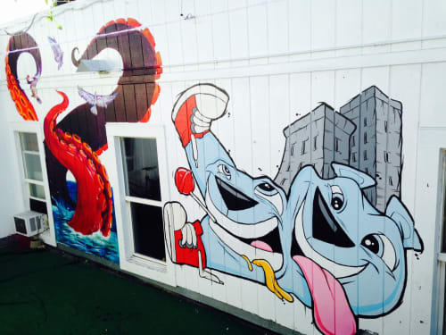 Murals by Lindsey Millikan (Milli) seen at 20 Mission SF Startup Community, San Francisco - Octopus Attack