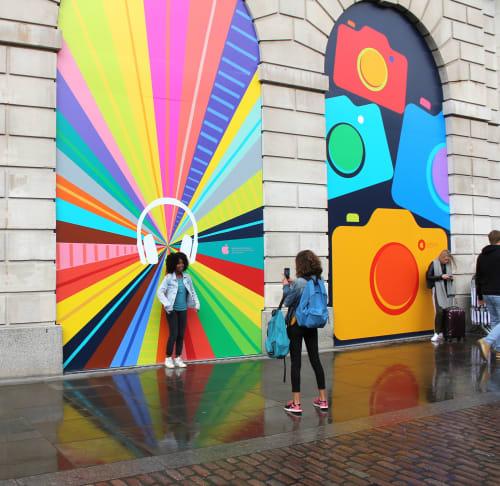 Murals by Rude seen at Apple Covent Garden, London - Apple Mural