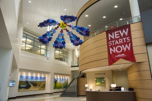 Sculptures by Niki Johnson seen at UW Health at The American Center, Madison - Health in Bloom: Phlox