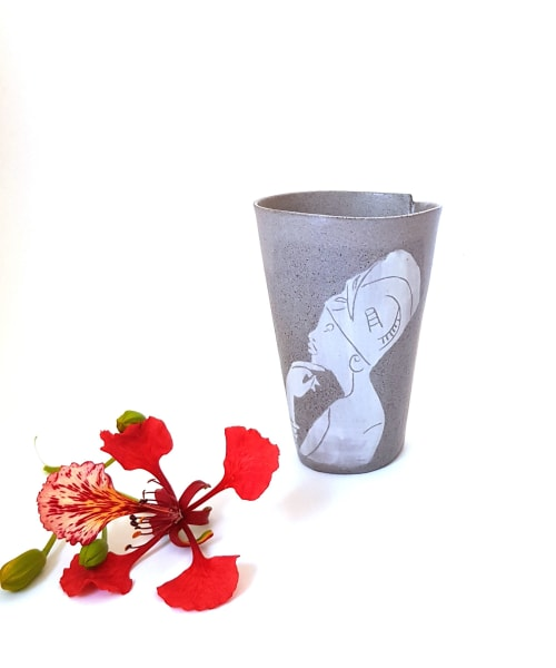 Coffee Portrait Tumbler African Lady | Cups by ShellyClayspot