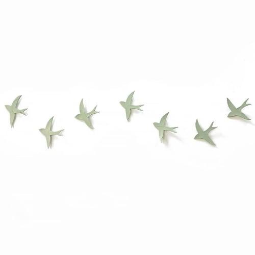 Art & Wall Decor by Elizabeth Prince Ceramics seen at Creator's Studio, Manchester - Set Of 7 Wall Art Swallows Sage Green