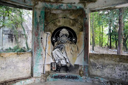 Street Murals by Miles Toland seen at Beatles Ashram Yoga School, Rishikesh - Beatles Ashram Street Art Mural Series