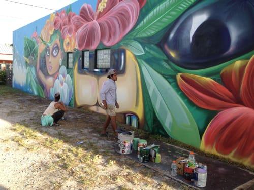 Street Murals by Yuhmi Collective seen at Little Haiti Soccer Park, Miami - L'union Fait La Force
