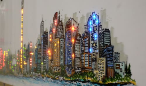 Murals by Farhee  ~ Chundri Art and Design seen at Private Residence, Toronto - Toronto Skyline Mural with Led lights