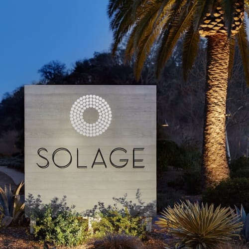 Signage by Concreteworks seen at Solage, Auberge Resorts Collection, Calistoga - Custom Fabricated Solage Sign